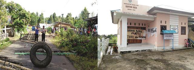 Warga Blockade Jalan Hingga Palang Kantor Desa