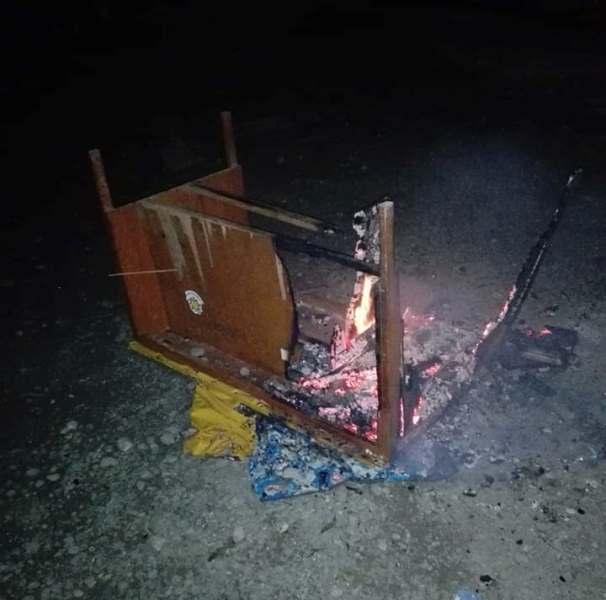 Meja Berisi Berkas Dinas Pendidikan Bolmong Diduga Dibakar Orang Tak Dikenal