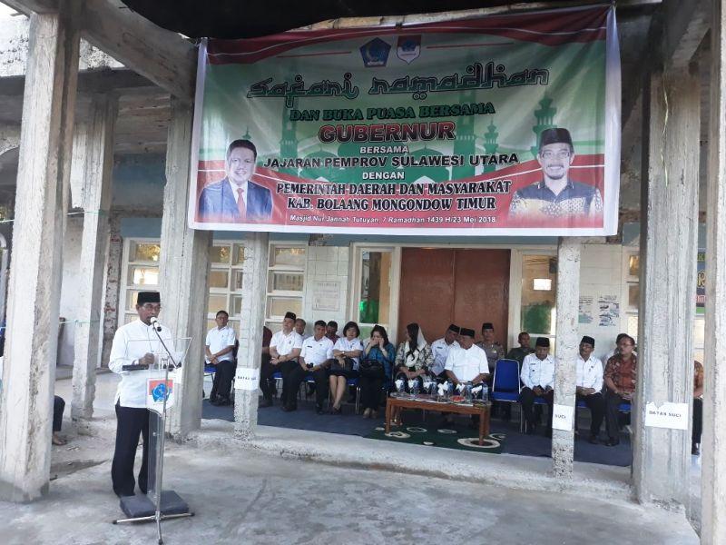 Buka Puasa Bersama Pemkab dan Masyarakat Boltim, Gubernur Sulut Disambut dengan Adat, Berikut Videonya