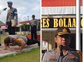 "Kapolres Bolmong Ambil Sikap ""Push Up dan Squat Jump"" di Hadapan Anggota yang Terlambat"