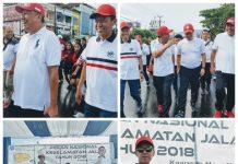 """Bupati Bolsel Akrab dengan Gubernur dan Wagub Saat Menghadiri """"Fun Walk Olly Pe Tamang"""" dan PNKJ Tahun 2018"""