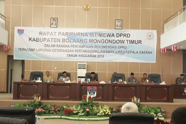DPRD Boltim Gelar Paripurna Pertanggung Jawaban LKPJ Bupati Tahun 2018