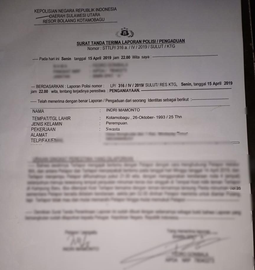 Surat Tanda Terima Laporan Polisi Bolmoracom