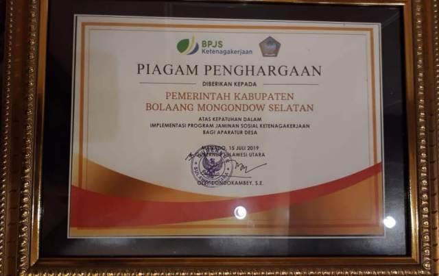 Pemkab Bolsel Kembali Raih Penghargaan Ketenagakerjaan dari BPJS
