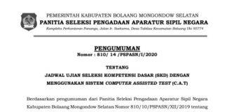 Pengumuman Jadwal Ujian SKD CPNS Bolsel Lengkap dengan Nama Pesertanya