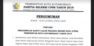 16-17 Januari 2020 Jadwal Pengambilan Nomor Ujian CAT Bagi CPNS Kota Kotamobagu
