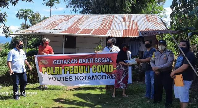 Polres Kotamobagu Terus Gelar Aksi Sosial dengan Membantu Masyarakat Terdampak Covid-19