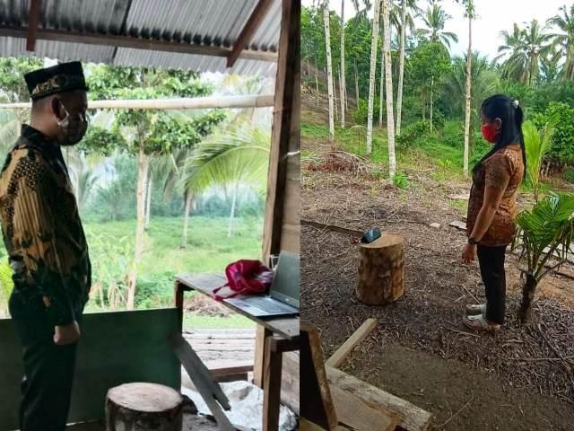 Pelantikan Virtual, Anggota PPS Bolmong Cari Sinyal di Tengah Hutan