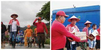 Bupati dan Wabup Bolsel Pantau Lokasi Banjir Sekaligus Menyerahkan Bantuan Logistik