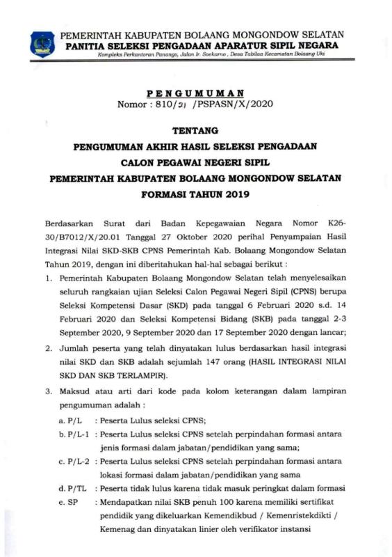 Ini Nama-nama CPNS Bolsel Formasi Tahun 2019 yang Lulus Seleksi