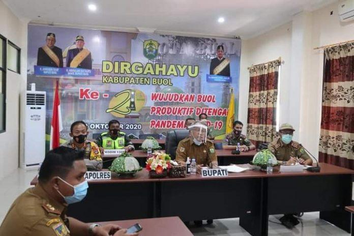 Bupati Buol Rakor Virtual Bersama Gubernur Bahas Penanganan Covid-19