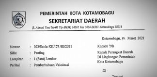 Berikut Jadwal Pelaksanaan Vaksinasi kepada ASN di Lingkup Pemkot Kotamobagu