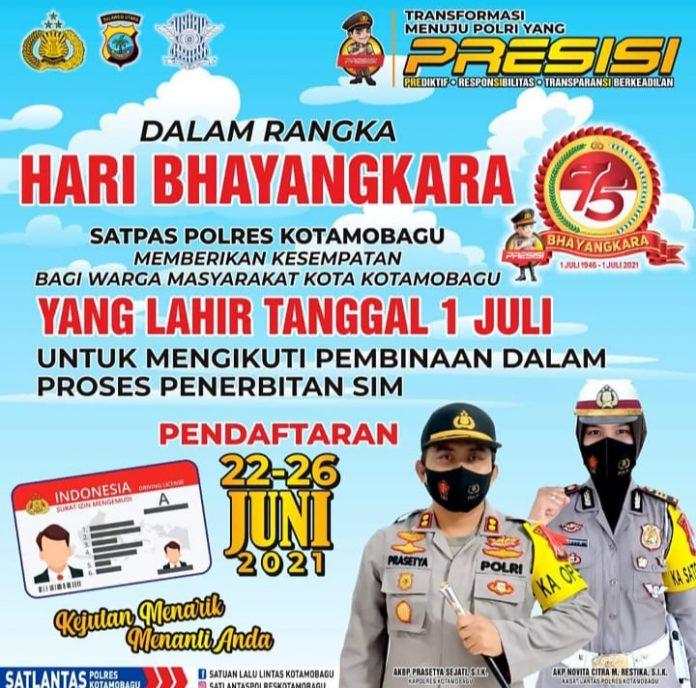 Sambut HUT ke-75 Bhayangkara, Satlantas Polres Kotamobagu Berikan SIM Gratis, Berikut Syaratnya