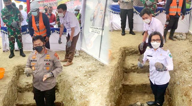 Kapolda Sulut dan Bupati Yasti Pimpin Peletakkan Batu Pertama Pembangunan Polres Bolmong