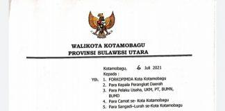 Wali Kota Kotamobagu Keluarkan Surat Edaran Terkait Antisipasi Peningkatan Covid-19
