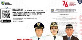 Pemkab Bolmong Umumkan Hasil Seleksi Berkas CASN Tahun 2021, Cek Nama Anda