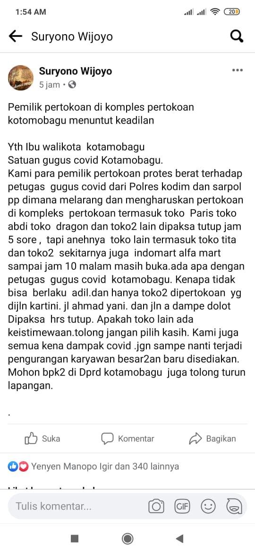 Pengusaha Toko Menilai PPKM Pilih Kasih, Ini Penjelasan Satgas Covid-19 di Kota Kotamobagu