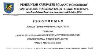 Pemkab Bolmong Umumkan Jadwal SKD CPNS 2021