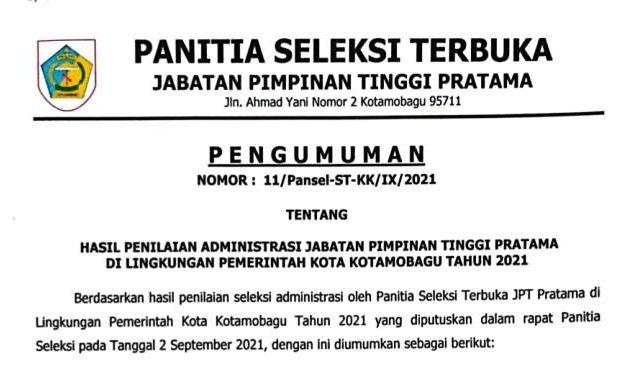 Penilaian Adminditrasi JPT Pratama Pemkot Kotamobagu Dimumumkan, Lihat Nama-namanya