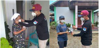 Pemdes Buyat Satu Bagikan Masker dan Hand Sanitizer ke Warganya