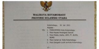 PPKM Level 3 di Kota Kotamobagu Kembali Diperpanjang Sampai 31 Agustus