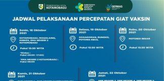Berikut Jadwal Pelaksanaan Vaksinasi di Kotamobagu Mulai Senin 18 Oktober 2021
